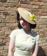 """""""Elspeth"""" 1950s style straw sunhat. Model: Alice @ Alice in Retrospect"""