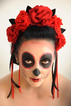 Day of the Dead felt rose crown. Model: Chip Vicious. Photographer: Denise Bradley, MUA: Missy Vintage