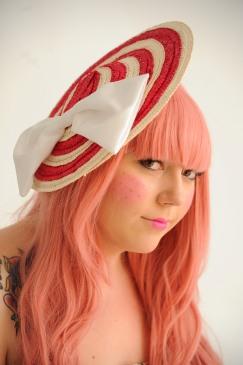 Straw lollipop hat. Model: Zoe Rayner. Photographer: Denise Bradley