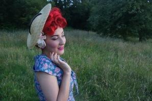 """""""Elspeth"""" 1950s inspired straw sun hat. Model: Amber @ Atomic Amber"""