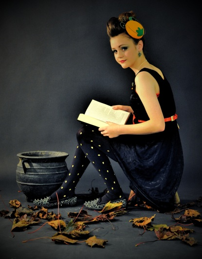Pumpkin fascinator. Model: Ruby Ware. Photo: Steve Adams