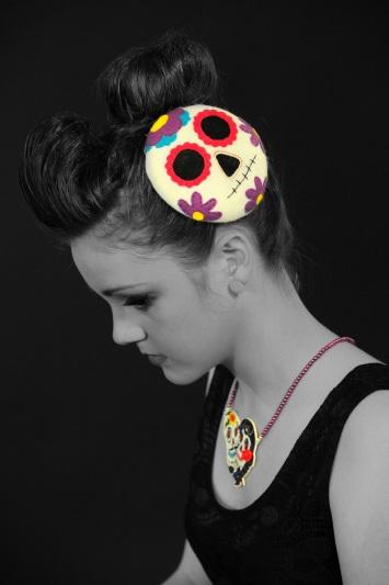 Sugar skull fascinator. Model: Ruby Ware. Photographer: Steve Adams